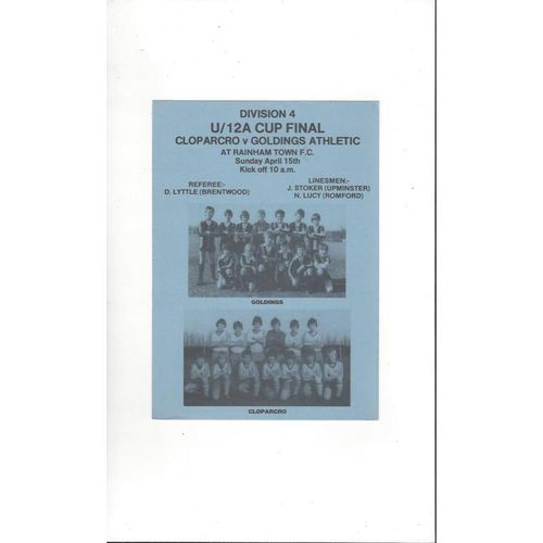 Goldings Athletic v Cloparcro U12 A Cup Final Football Programme 1978/79