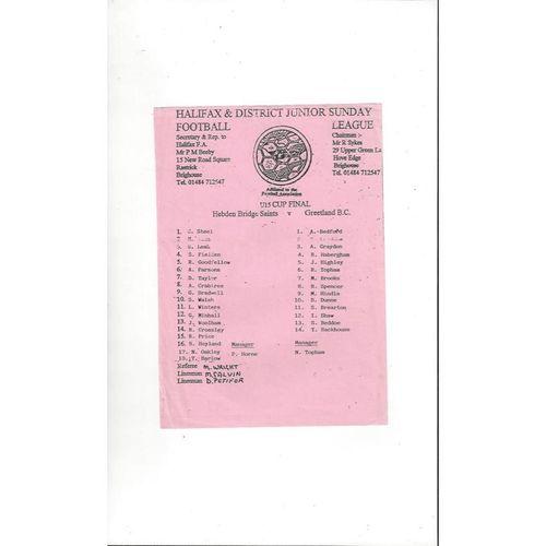 Hebden Bridge Saints v Greetland BC U15 Cup Final Football Programme. No date