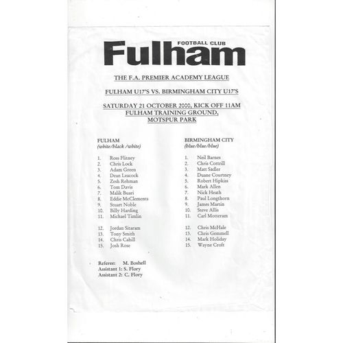 Fulham v Birmingham City U17 Football Programme 2000/01