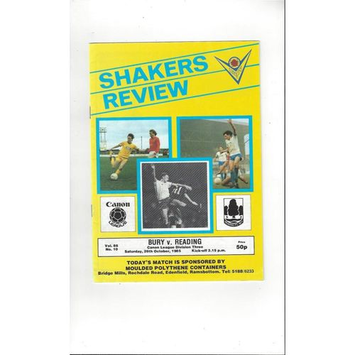1985/86 Bury v Reading Football Programme