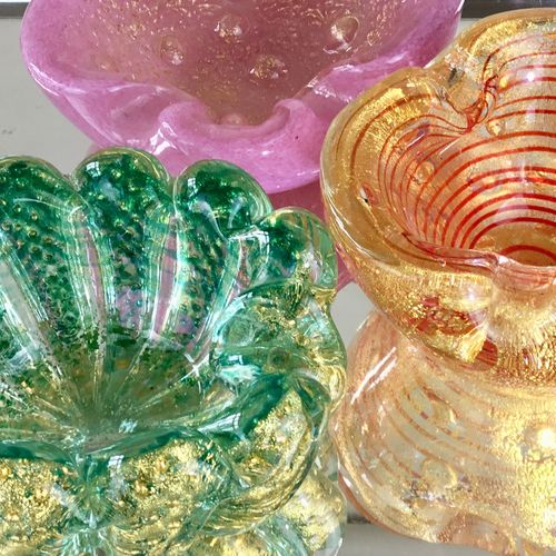 Trio of Barovier & Toso gilded Murano bowls