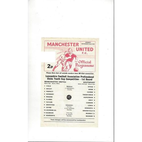 Manchester United v Southport Lancashire Youth Cup Football Programme 1976/77