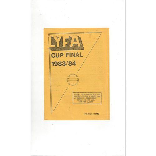 Mercury Jnr League v Bexley & District U14 Cup Final Football Programme 1983/84