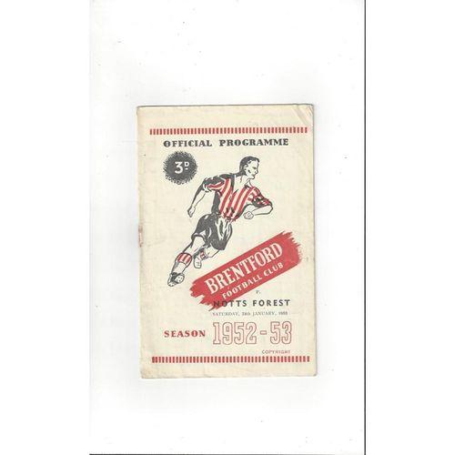 1952/53 Brentford v Nottingham Forest Football Programme