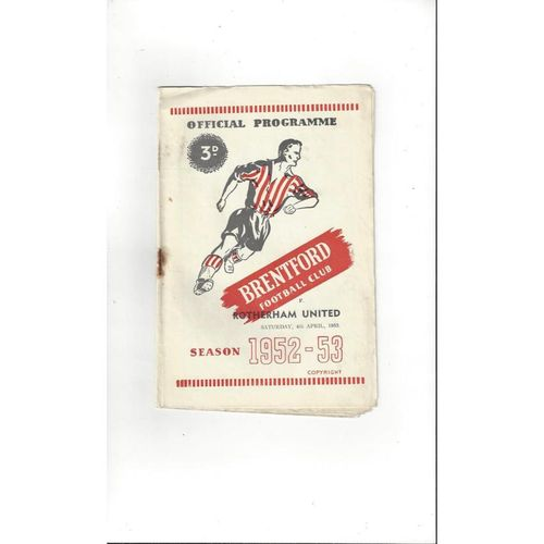 1952/53 Brentford v Rotherham United Football Programme
