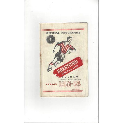 1953/54 Brentford v Fulham Football Programme
