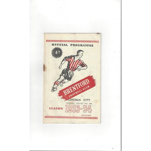 1953/54 Brentford v Lincoln City Football Programme