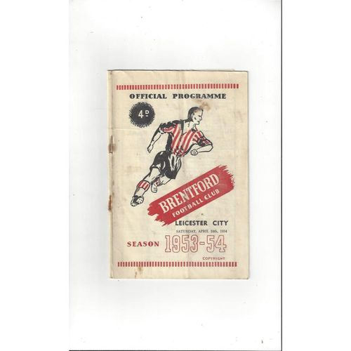 1953/54 Brentford v Leicester City Football Programme