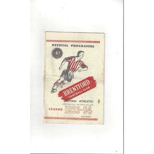 1953/54 Brentford v Oldham Athletic Football Programme