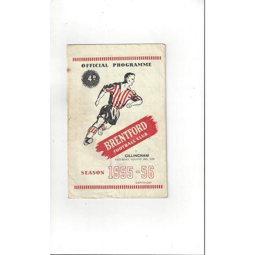 1955/56 Brentford v Gillingham Football Programme