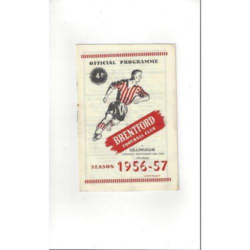 1956/57 Brentford v Gillingham Football Programme