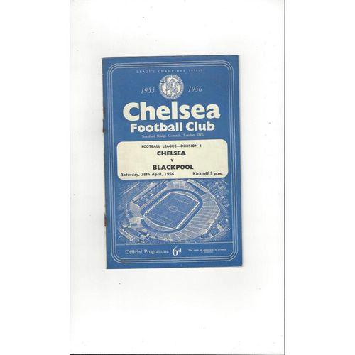 1955/56 Chelsea v Blackpool Football Programme
