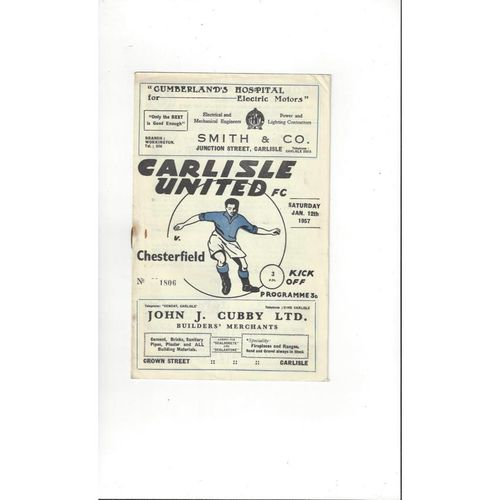 1956/57 Carlisle United v Chesterfield Football Programme