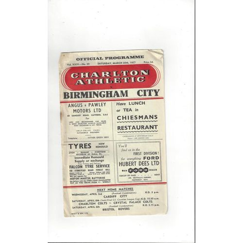 1956/57 Charlton Athletic v Birmingham City Football Programme