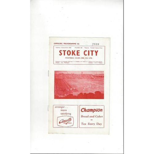 1961/62 Stoke City v Plymouth Argyle Football Programme