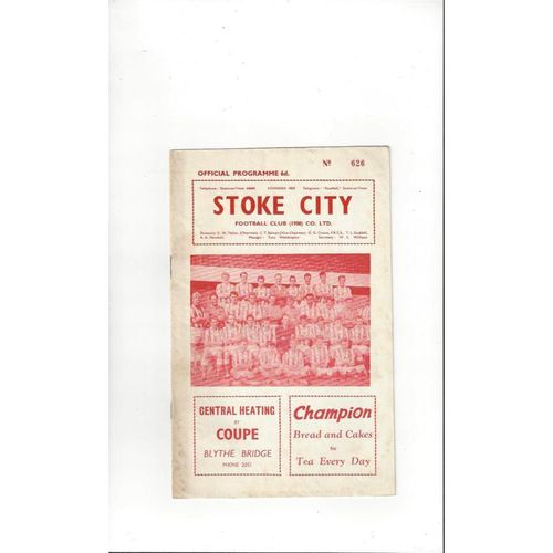 1962/63 Stoke City v Swansea Football Programme Dec