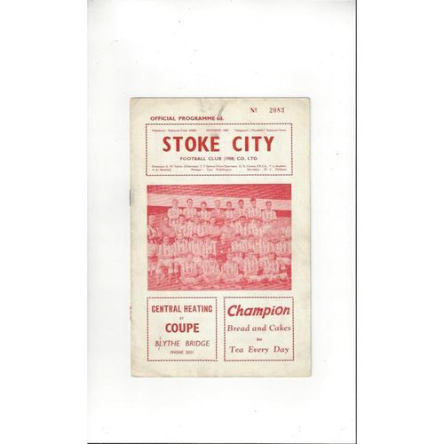 1962/63 Stoke City v Swansea Football Programme March