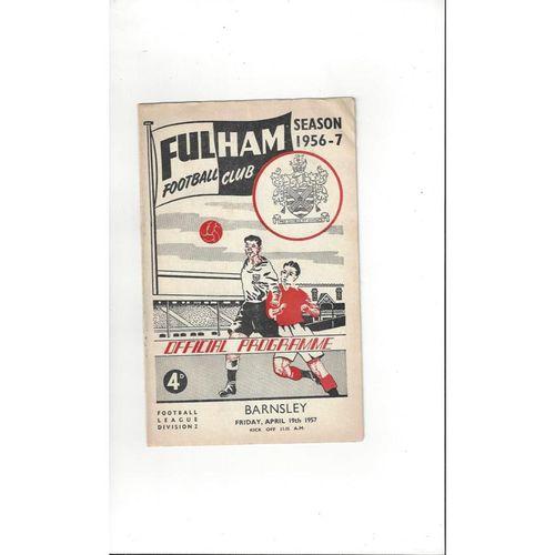 1956/57 Fulham v Barnsley Football Programme