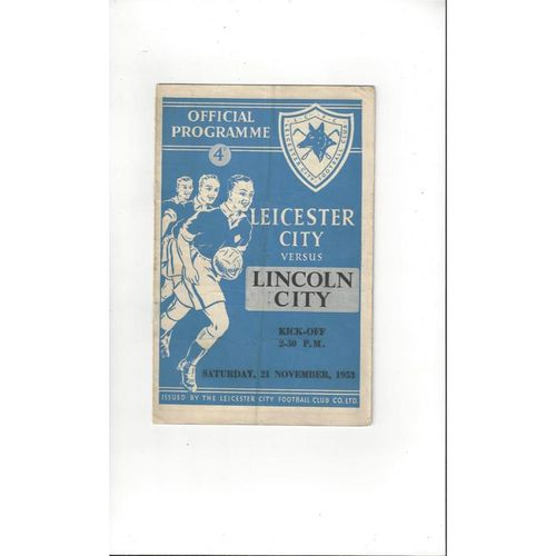 1953/54 Leicester City v Lincoln City Football Programme