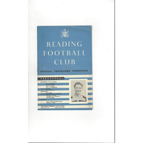 1956/57 Reading v Wrexham FA Cup Replay Football Programme