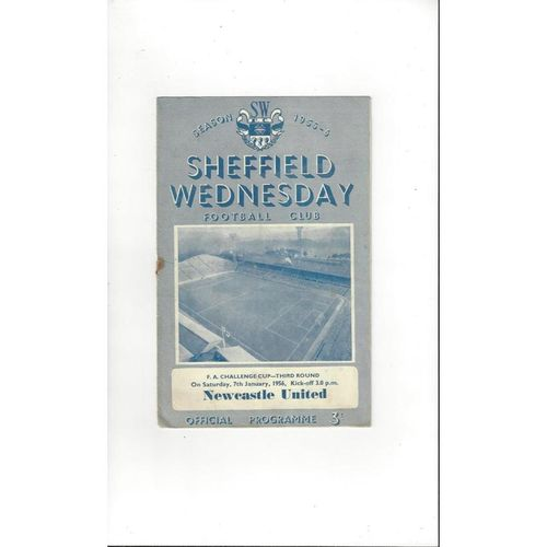 1955/56 Sheffield Wednesday v Newcastle United  FA Cup  Football Programme