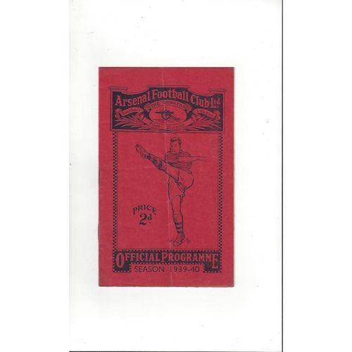 1939/40 Arsenal v Sunderland Football Programme