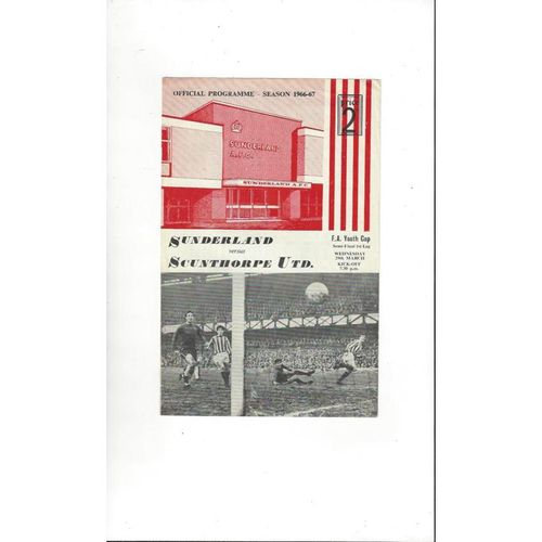 1966/67 Sunderland v Scunthorpe United Youth Cup Semi Final Football Programme
