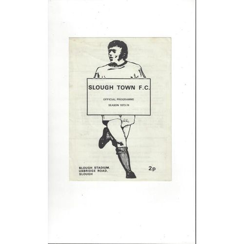 1973/74 Slough Town v Fulham FA Youth Cup Replay Football Programme