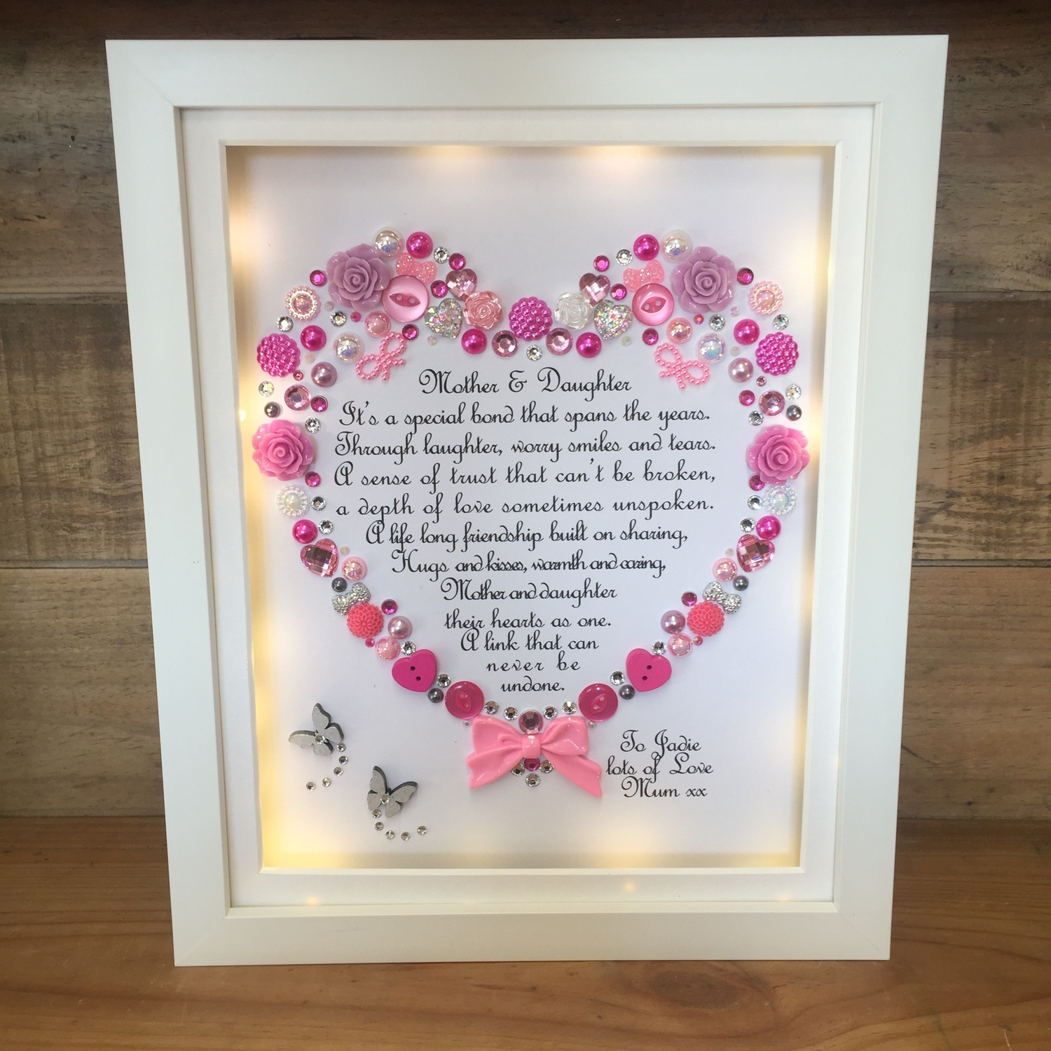 LED Mother and daughter poem | Crafty Monkey | Personalised Golden ...