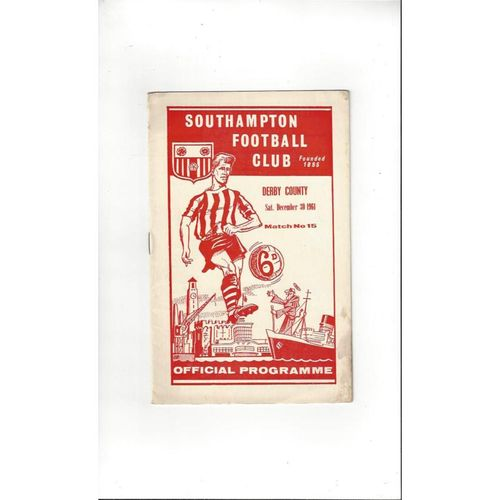 1961/62 Southampton v Derby County Football Programme