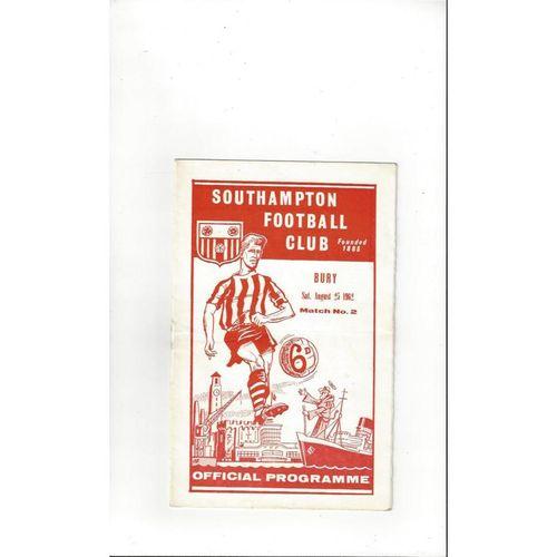 1962/63 Southampton v Bury Football Programme