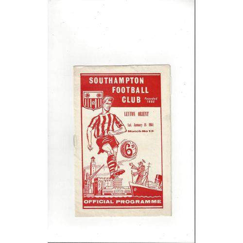 1963/64 Southampton v Leyton Orient Football Programme