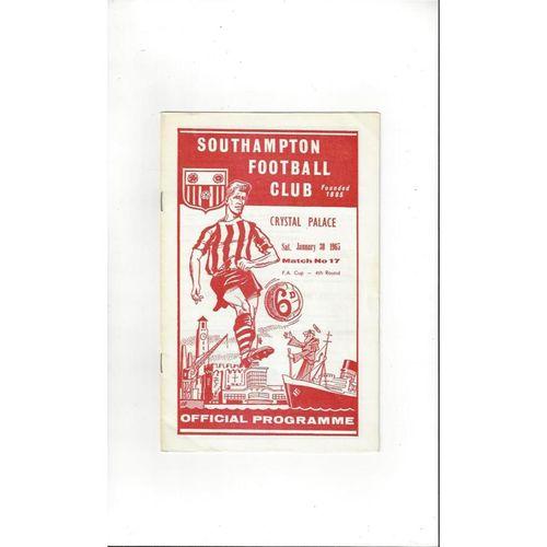1964/65 Southampton v Crystal Palace FA Cup Football Programme