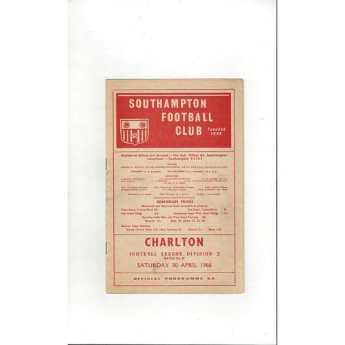 1965/66 Southampton v Charlton Athletic Football Programme
