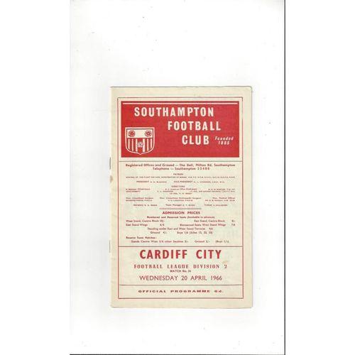 1965/66 Southampton v Cardiff City Football Programme