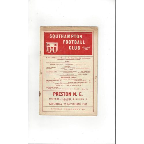 1965/66 Southampton v Preston Football Programme