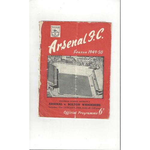 1949/50 Arsenal v Bolton Wanderers Football Programme
