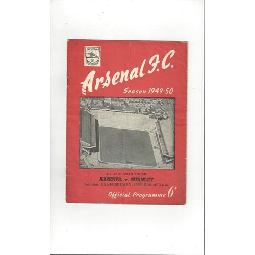 1949/50 Arsenal v Burnley FA Cup Football Programme