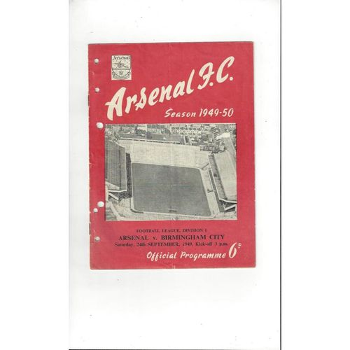 1949/50 Arsenal v Birmingham City Football Programme