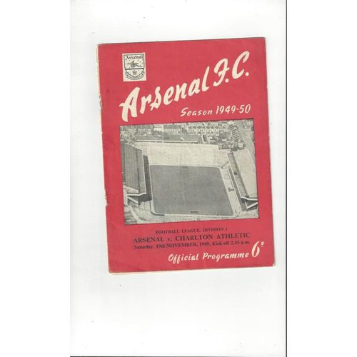 1949/50 Arsenal v Charlton Athletic Football Programme