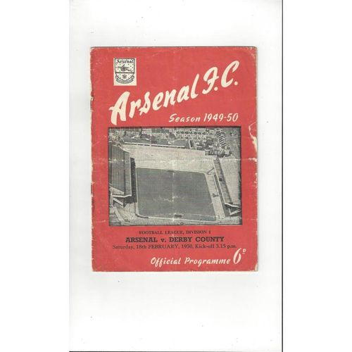 1949/50 Arsenal v Derby County Football Programme