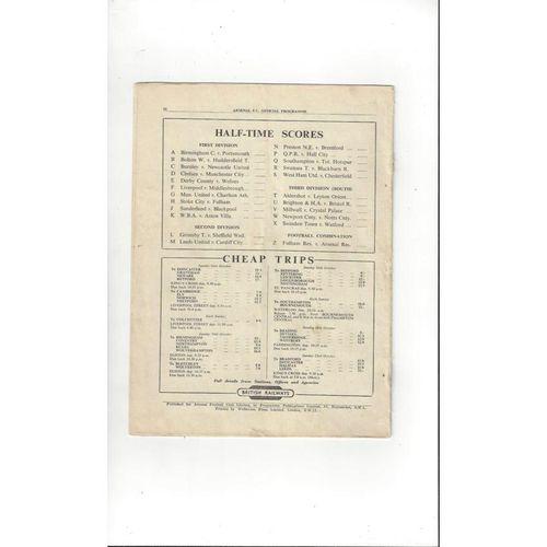 1949/50 Arsenal v Everton Football Programme