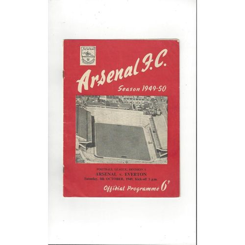 1949/50 Arsenal v Everton Football Programme