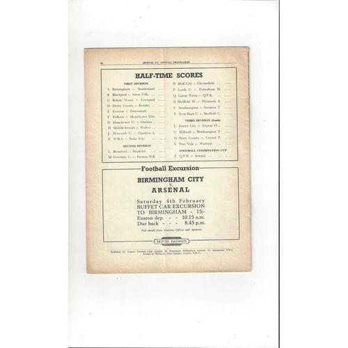 1949/50 Arsenal v Huddersfield Town Football Programme