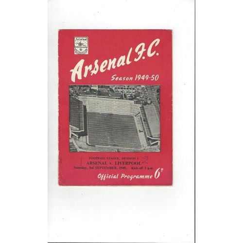 1949/50 Arsenal v Liverpool Football Programme
