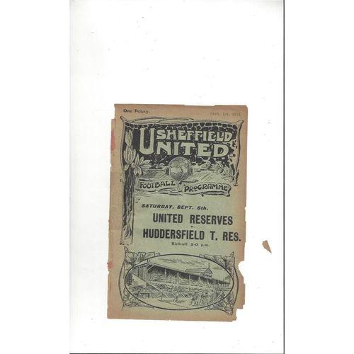 1924/25 Sheffield United v Preston Reserves Football Programme