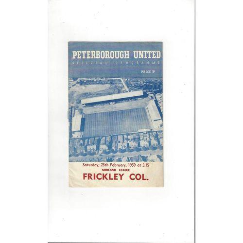 1958/59 Peterborough United v Frickley Football Programme