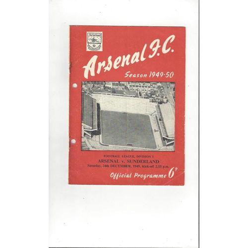 1949/50 Arsenal v Sunderland Football Programme
