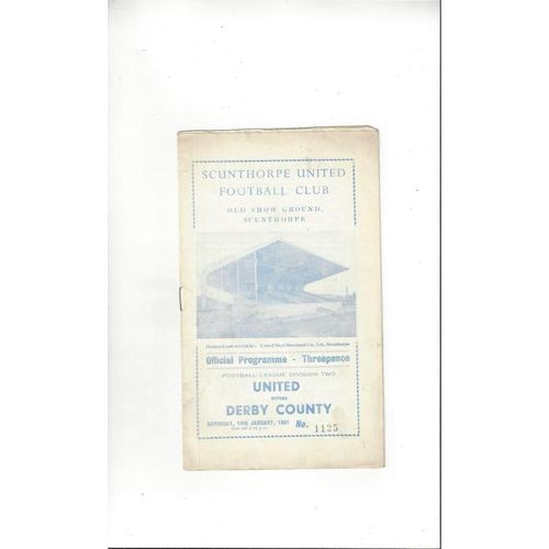 1960/61 Scunthorpe United v Derby County Football Programme