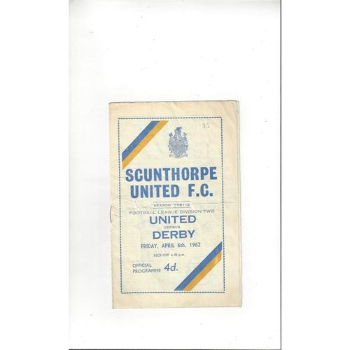 1961/62 Scunthorpe United v Derby County Football Programme